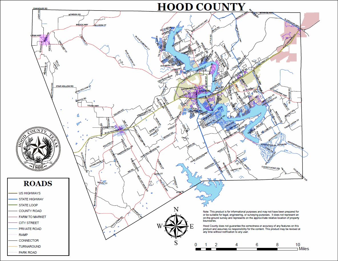 County Road Maps Hood County TX Official Website - Map of texas counties