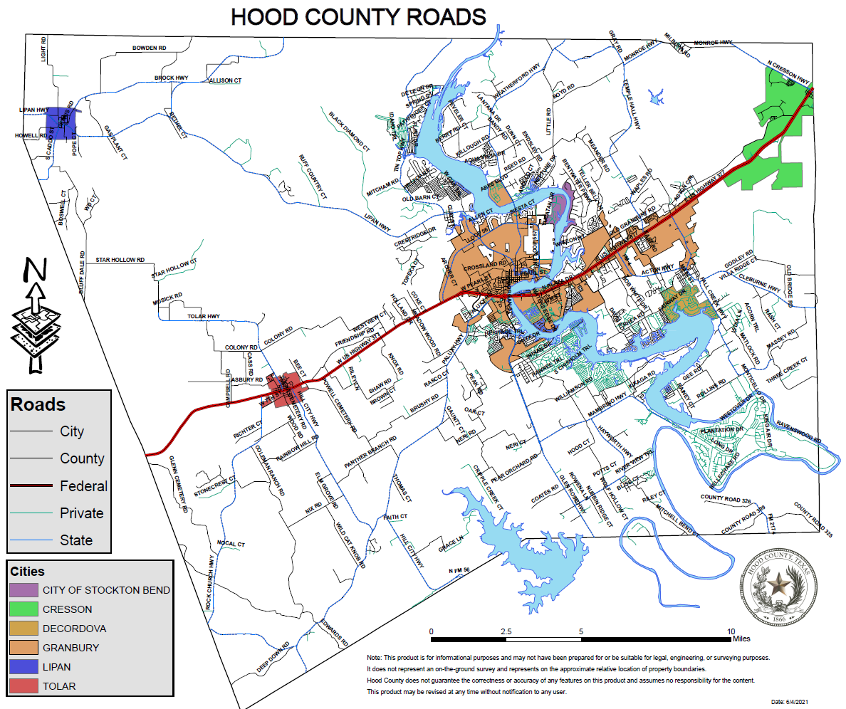 Map Of Texas With Cities And Counties.County Road Maps Hood County Tx Official Website